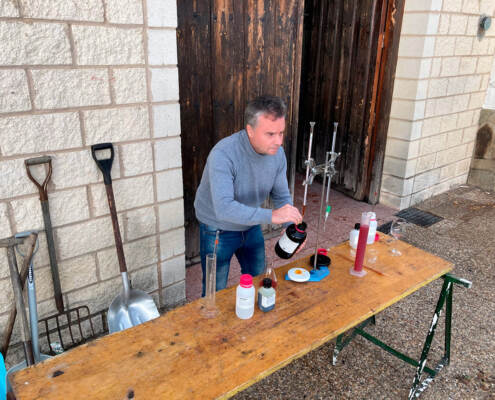Angel our oenologist checking the musts during harvest days